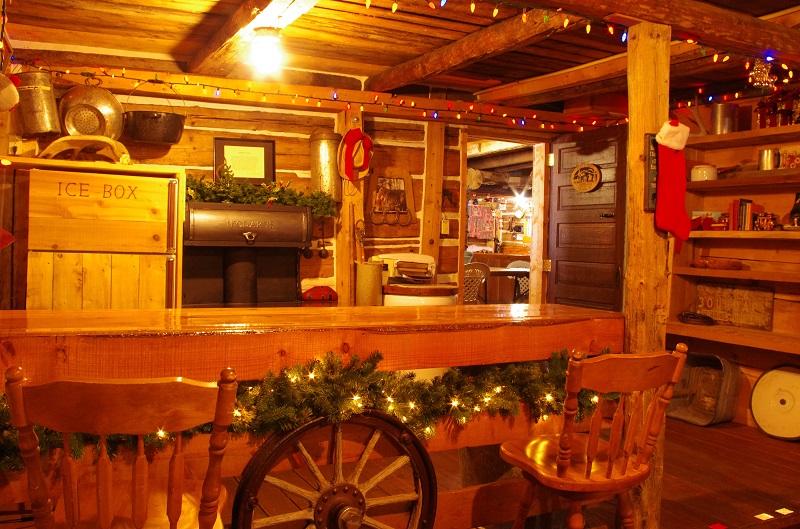 Bar Area with fridge in Gamesroom Old Log Barn at Historic Reesor Ranch.