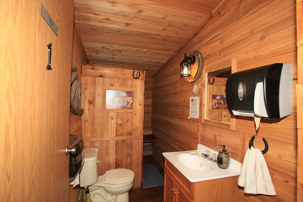 Men's washroom on Rancher's Row, Old Log Barn at Historic Reesor Ranch.
