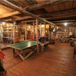 Games Room in Old Log Barn at Historic Reesor Ranch.