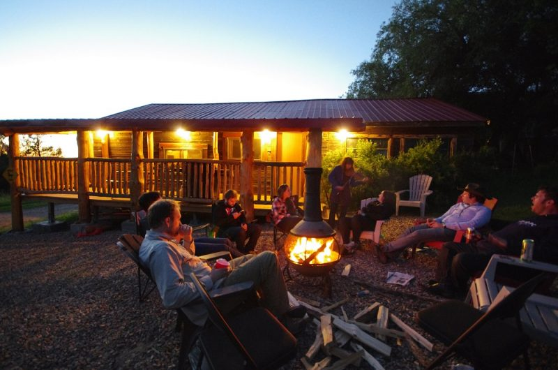 Reminiscing at its' best! Chillin' by the Bunkhouse campfire at Historic Reesor Ranch.