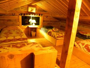 Remind you of GoldiLocks and the Three Bears? Snuggle into four comfy Log Cabin loft beds at Historic Reesor Ranch.