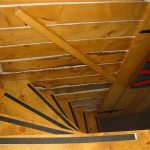 Log Cabin stairs to loft (caution steep) at Historic Reesor Ranch.