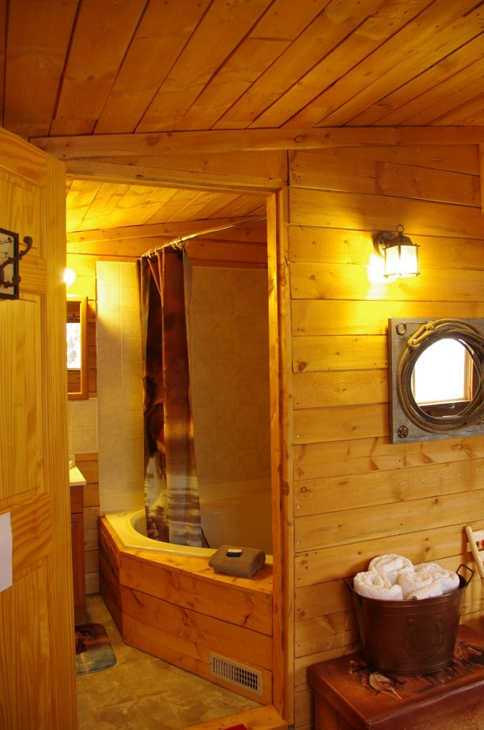Bathroom and two person Jacuzzi tub in Cowboy's Cabin at Historic Reesor Ranch.