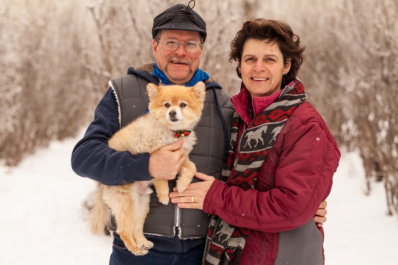 Scott and Theresa Reesor with Spike (Pomeranian)