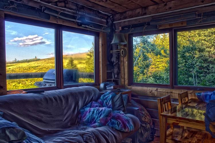 Window view anyone? North view from Log Cabin windows at Historic Reesor Ranch.