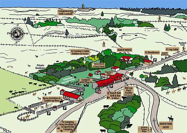 Graphic ranchyard map by Carmen Drapeau of Historic Reesor Ranch.