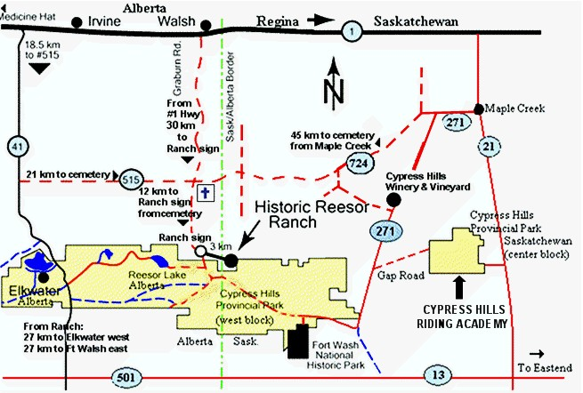 Cypress Hills map with Historic Reesor Ranch.