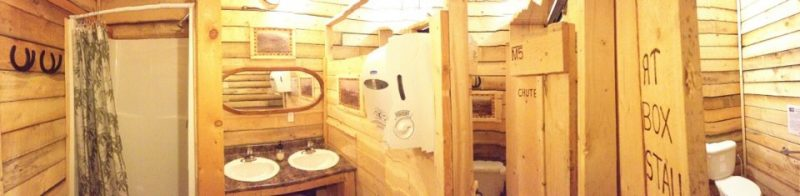 Women's washroom for Old Log Barn and Ranch Hall guests at Historic Reesor Ranch.