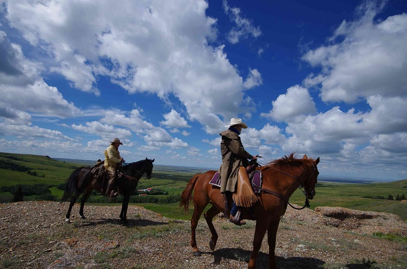 Riders at Conglomerate Rocks Historic Reesor Ranch.