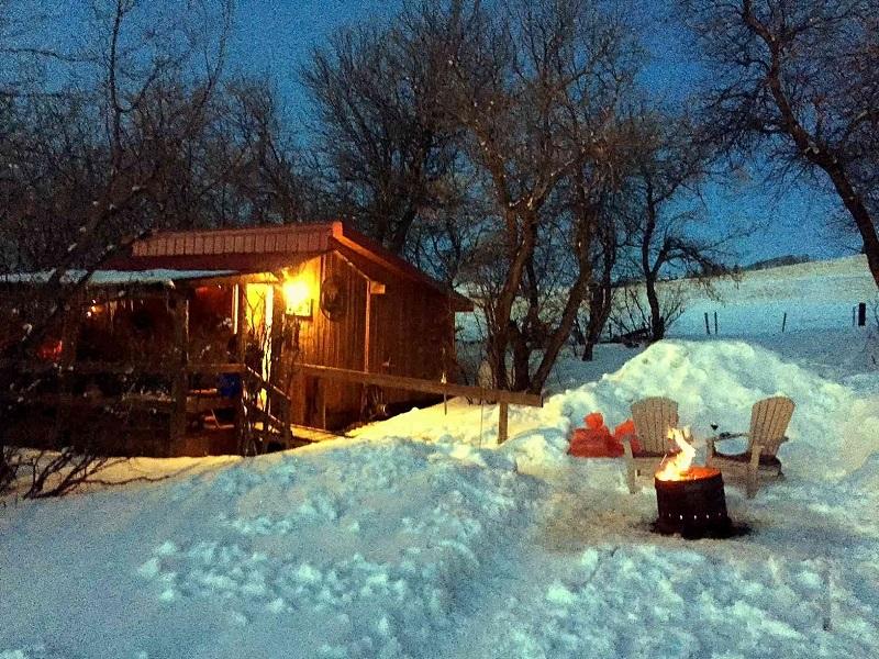 Cowboy's Cabin winter warmth at Historic Reesor Ranch.