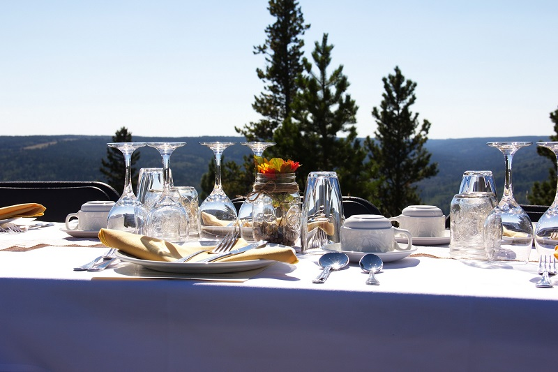 Long Table Dinner setting with a view at Historic Reesor Ranch