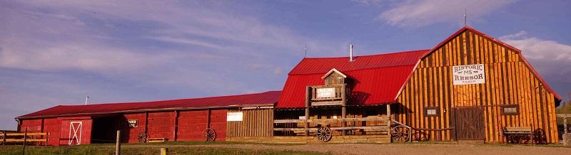 Old Log Barn and Ranch Hall closeup at Historic Reesor Ranch