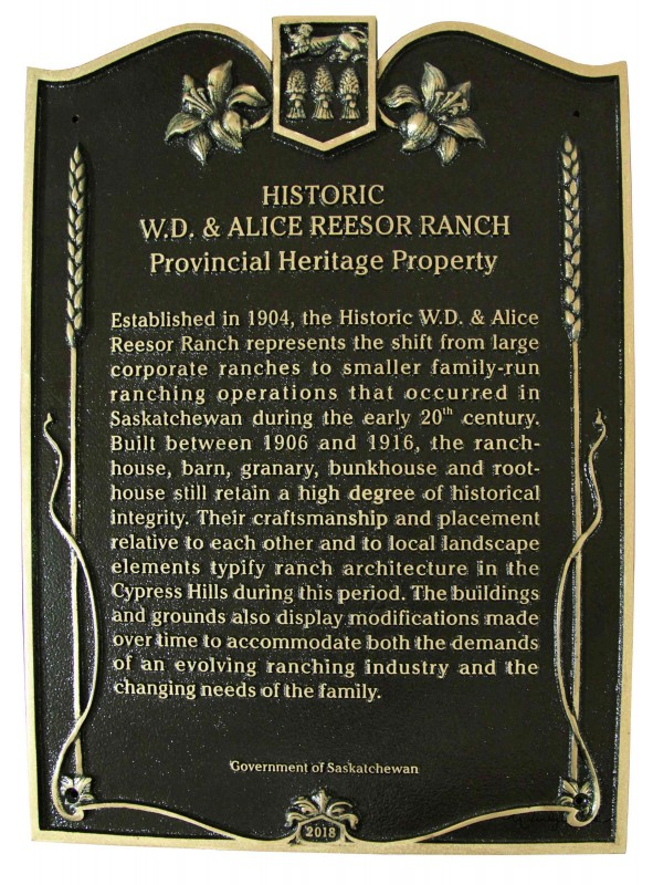 Provincial Heritage Designation Plaque W.D. and Alice Reesor Ranch