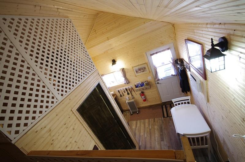 Frontier Cabin front door view from top double bunkbed