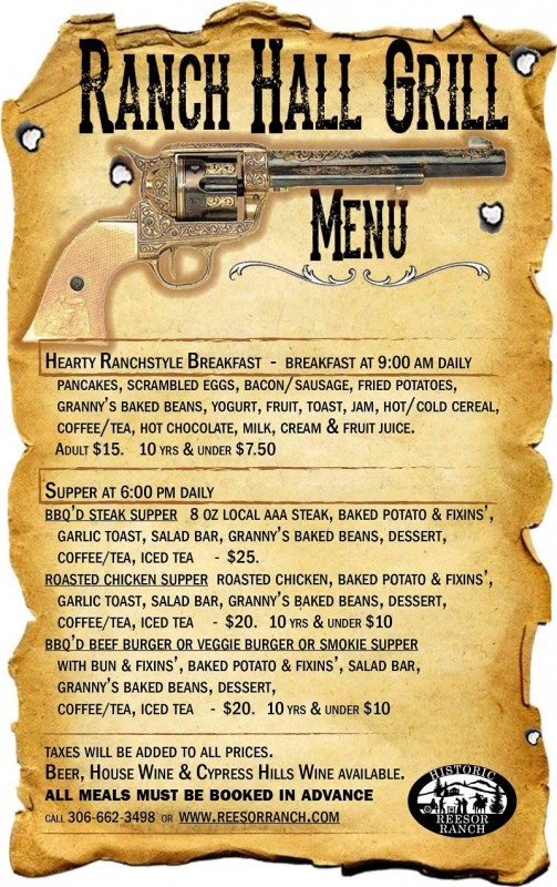 Ranch Hall Grill Menu