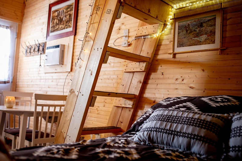 View from cozy double bottom bunk