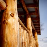 Hand hewn exterior railings