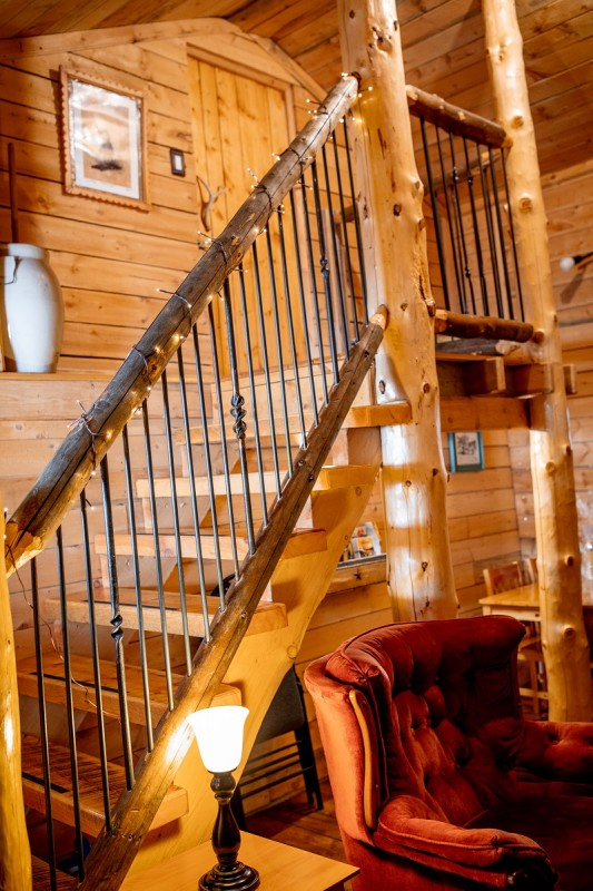 Stairway to Loft (Logs from the ranch hand hewn by our son)