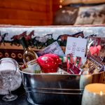 Romance Package in Cowboy's Cabin includes gift basket plus a bottle of Cypress Hills Wine and breakfast