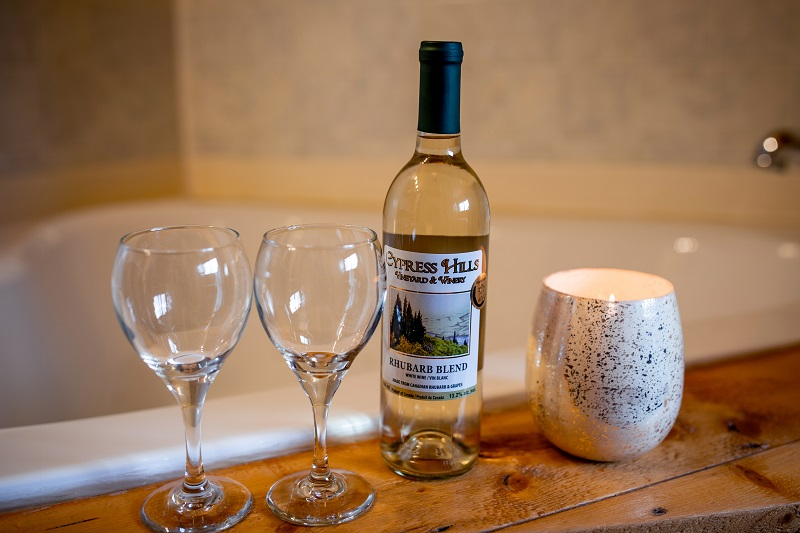Romance Package includes gift basket plus a bottle of Cypress Hills Wine and breakfast