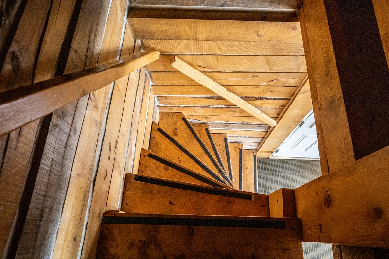 Log Cabin stairs to loft (caution steep)